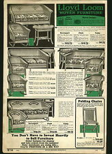1932 ADVERT lloyd Loom Bent Elm Reed Willow Furniture Rocking Chair Davenport