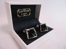 PENROSE Stilista Londra Cassa un quadrato WAVE Lucidato Onyx GEMELLI RRP £ 115 #CL 63