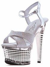 Ellie Shoes 649 -  Disco Silver Platform Heels Size 8 NEW!