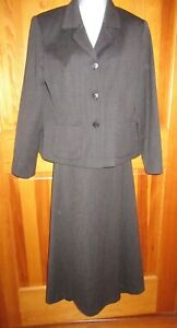 Ladies Size 10P 2 Pc Charcoal Lined Skirt Suit by Talbots 100% Wool