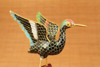Old Cloisonne Handmade Painting eagle Figure Statue with wood stand