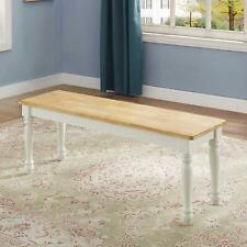 For Kitchen Farmhouse Wood Country White Extra Seating Bench Only