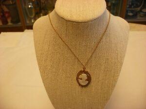 Antique Victorian Art Nouveau 10K Gold Cameo Brooch Pin & Pendant #2