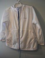 Columbia jacket womens 3X windbreaker hooded white blue yellow polka dot zip up