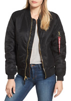 Alpha Industries Womens Black Ma-1 W Bomber Jacket Size Large 1116
