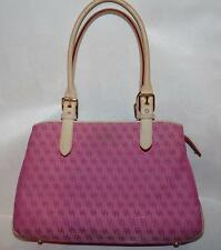 "Dooney & Bourke Pink Signature 'Buckle Satchel"" Natural Leather Handles H035C"