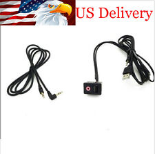 In Car USB Port & 3.5mm Headphone Connector Dash Flush Mount For Toyota Honda VW