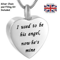 Angel Heart Cremation Urn Pendant Ashes Necklace Funeral Memorial Jewellery