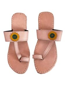Genuine leather womens sandals ladies slippers handmade in India beige color