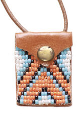 Orange,Blue White Beads Leather Pocket Bag/brown Strand Necklace(Zx2/199)