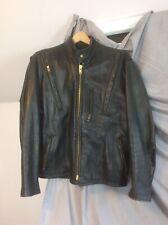 Vintage  Black Leather Motorcycle Jacket Sz 40- 42 R&S Leather Bridgeport CT USA