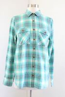 J Crew Womens Teal Green - Turquoise Gray Plaid Button Front Shirt Blouse Size 4