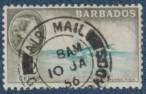 BARBADOS  1953      12c    Good Used with  AIR MAIL cds      (C02)