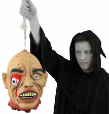HANGING EYE SEVERED HEAD RUBBER LATEX LIFE SIZE GORY HALLOWEEN PROP DECORATION