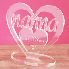 Personalised Heart Message Ornament Keepsake Birthday Nanna Mothers Day Gift