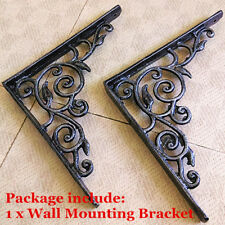 Yard Flower Vintage Antique Wrought Iron Book Shelf Bracket Support Wall Mounted