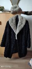veste dame 7/8 fourrure Astrakan avec col et bonnet vison gris belle qualité