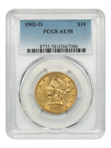 1903-O $10 PCGS AU58 - New Orleans Gold - Liberty Eagle - Gold Coin
