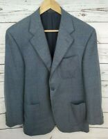 FACONNABLE TAILLEUR Cantarelli Gray Windowpane 3/2 Roll Cashmere Jacket 48/38S