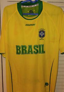 BRASIL National SOCCER Football Futbol YELLOW Jersey Agmar Mens One Size