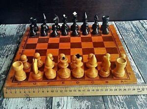 Vintage Wooden Chess Set Big figures 1970 USSR tournament Folding Board 40x40