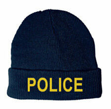 "Watch Cap ""POLICE"" Med Gold on Dark Navy, Embroidery, Gift Idea"