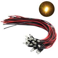 L123WM 20pcs Pre Wired 3mm WARM White Led Lamp Light Set 12V 20cm Wire