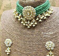Bollywood Gold Plated Jewelry Indian Pachi Kundan Polki Bridal Necklace Set