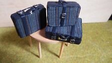 doll house items 3 x handmade leather/material travel luggage 1.12th