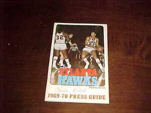 1969 Atlanta Hawks Basketball Media Guide Lou Hudson Cover