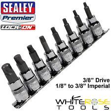 """Sealey Hex Socket Bit Set Lock On 8pc 3/8"""" Drive Imperial SAE Allan Allen Key"""
