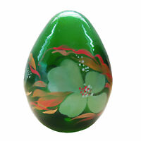 "VTG Hand Painted Hand Blown Floral Flowers Transparent Green Glass Oval Egg 4 ""h"