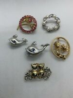 Lot Of 6 New And Vintage Pins Brooches