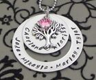 Personalised Hand Stamped Any Names / Any Wording Tree Of Life Pendant/Necklace