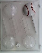BASEBALL LOLLIPOP CLEAR PLASTIC CHOCOLATE CANDY MOLD S051