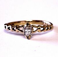 10k yellow gold .07ct marquise diamond womens solitaire engagement ring 1.6g