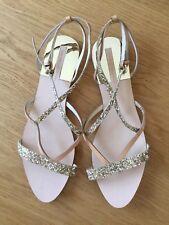 Zara Sandalen Gr.41 Gold Braun Beige Leder Neu Glitzer Glitter Glamour