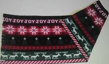 "CHRISTMAS / HOLIDAY JOY FLEECE SCARF -SOFT-HANDMADE- 8"" WIDE x 60"" LONG"