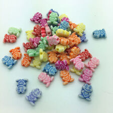 50pcs Mixed Colors Frog Acrylic Perforation Beads DIY Jewelry Making #56
