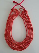 One Single Strand Natural Mediterranean Red Coral Necklace Made in Italy