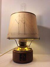 Vintage Aladdin Mantel Lamp Mariner Sailboat Paper Shade Electric Wood Base