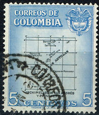Colombia Antilles Islands San Andrés map and Coat of Arms stamp 1958