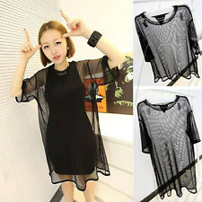 Stylish Sexy Women See through Sheer Mesh Short T Oversize Tops Free Blouse