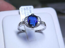 Briolette Cut Sapphire Ring Size 9 925 Sterling Silver Simulated Rich Blue