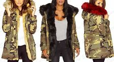 Ladies Celeb Style Coloured Faux Fur Winter Camo Hooded Parka Jacket Coat (SALE