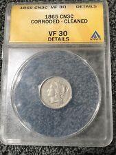 1865 Three Cent Nickel Graded Anacs VF 30