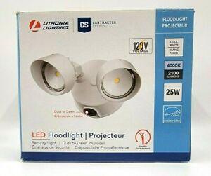 Lithonia Lighting 2-Head White Outdoor Dusk to Dawn LED Round Flood Light