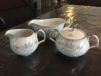 Mikasa Clarion Fine China Sugar and Creamer Set with Gravy Boat Silver Trim
