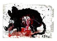 """Original JUSTIN AERNI circa 2021 PAINTING dark art macabre : """"DEAD RAT 5"""""""