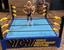 Mattel WWE Hall of Fame WCW Retro Ring w/ Ric Flair and 2 Custom Championships